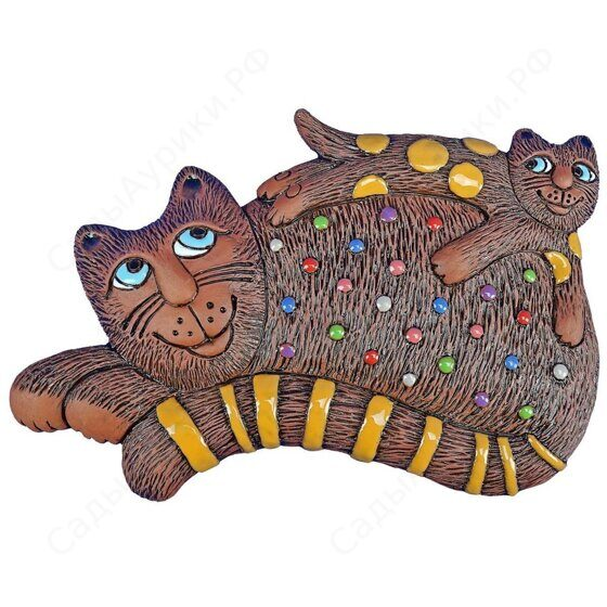 Панно Кошка с котенком на спине (цвет)